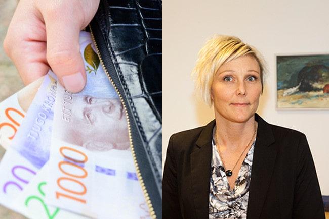 kollage hand som tar ut sedlar ur plånbok och foto IAFs analyschef Jessica Idbrant