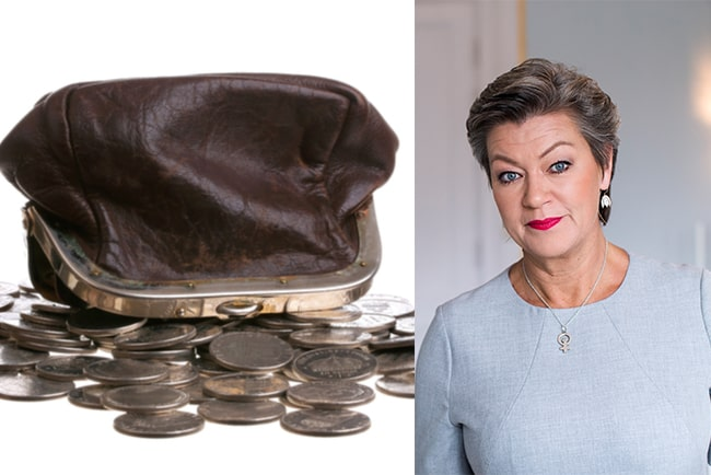 upp och ner-vänd portmonnä med mynt och Ylva Johansson, arbetsmarknadsminister