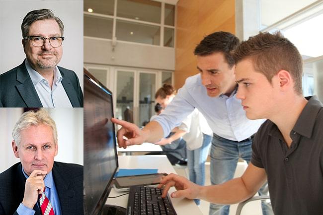 generaldirektörer mikael sjöberg och thomas pålsson, och arbetssökande som får hjälp vid dator på servicekontor
