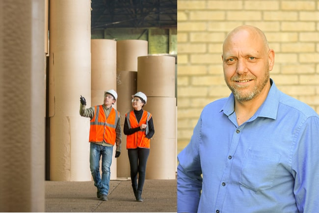två arbetare i en pappersfabrik och pontus georgsson, ordförande för fackförbundet Pappers