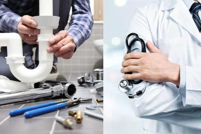 närbilder på vvs-montör som monterar ett rör och en läkare som håller i ett stetoskop