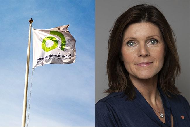 flagga med arbetsförmedlingens logotyp mot blå bakgrund, och arbetsmarknadsminister Eva Nordmark