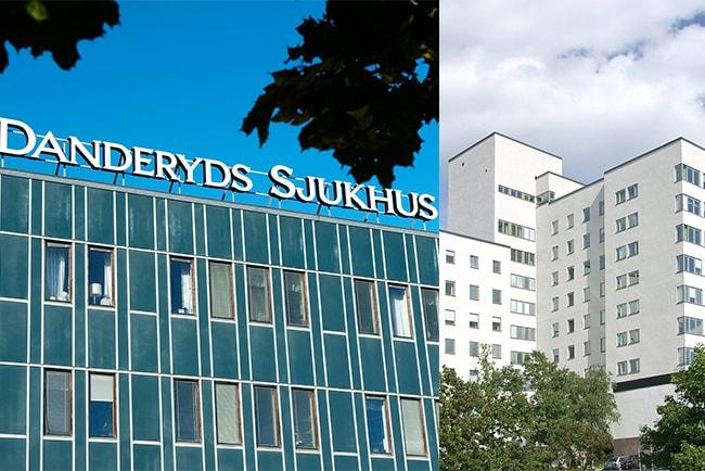 fasad på danderyds sjukhus och huvudbyggnaden på södersjukhuset