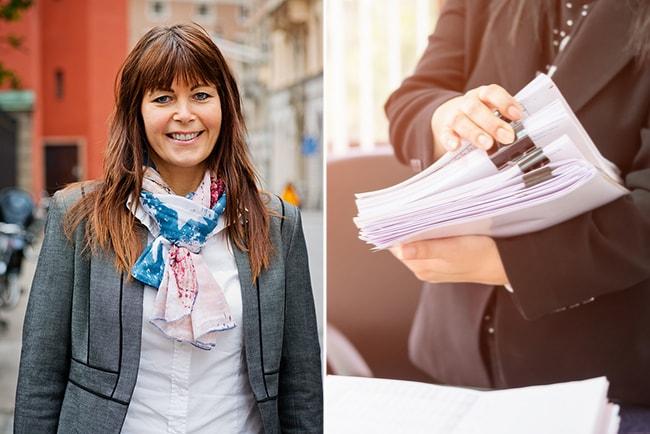 erica sundberg, operativ chef TRR och tjänsteman som bläddrar i en bunt med papper