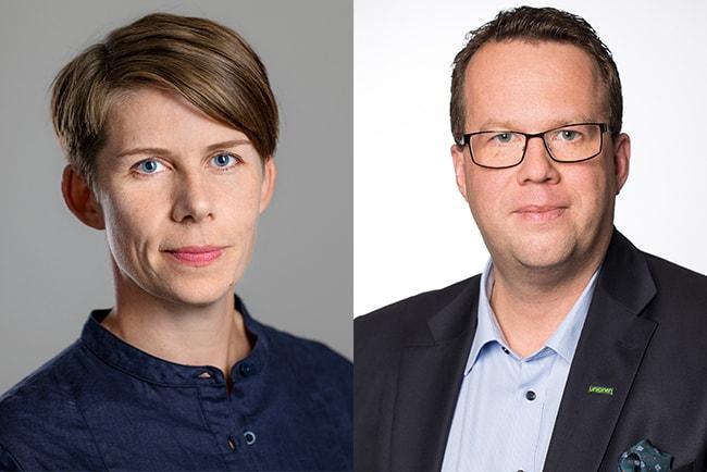 ulrika hyllert, ordförande för Journalistförbundet, och Martin Linder, ordförande för Unionen